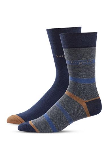 Bugatti Two-Pack Fancy Stripes Socks Set-NAVY-10-13