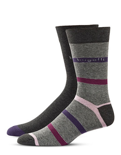 Bugatti Two-Pack Fancy Stripes Socks Set-BLACK-7-9