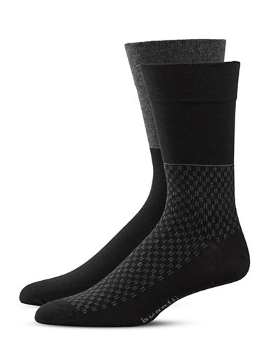 Bugatti Two-Pack Two-Tone Optic Socks Set-BLACK-10-13