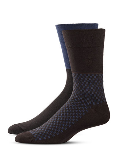 Bugatti Two-Pack Two-Tone Optic Socks Set-BROWN-10-13