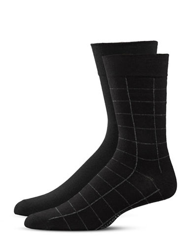 Bugatti Two-Pack Window Check Socks Set-BLACK-10-13