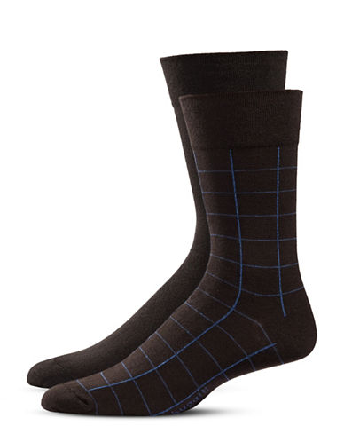 Bugatti Two-Pack Window Check Socks Set-BROWN-10-13