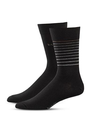 Bugatti Two-Pack Growing Stripes Socks Set-BLACK-10-13