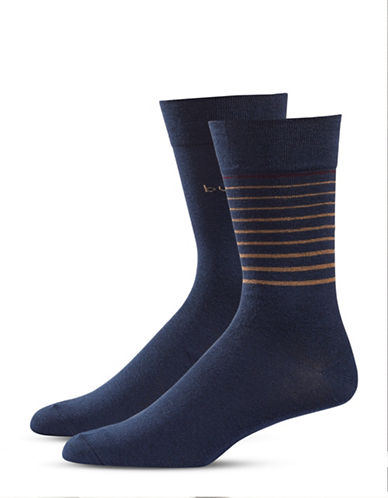Bugatti Two-Pack Growing Stripes Socks Set-NAVY-10-13