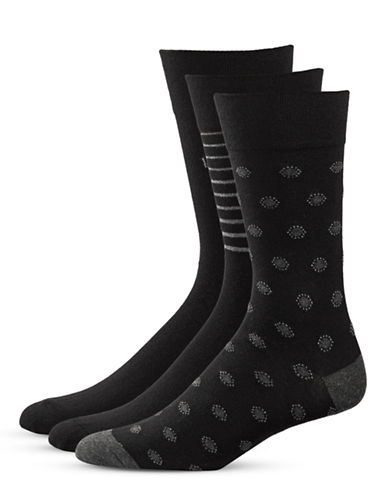 Bugatti Three-Pack Dots and Stripe Socks Set-BLACK-10-13