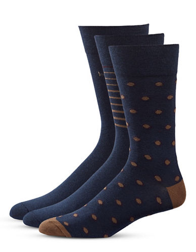 Bugatti Three-Pack Dots and Stripe Socks Set-NIGHT NAVY-7-9