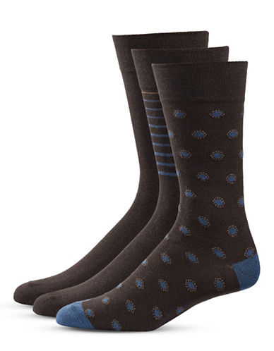 Bugatti Three-Pack Dots and Stripe Socks Set-BROWN-10-13