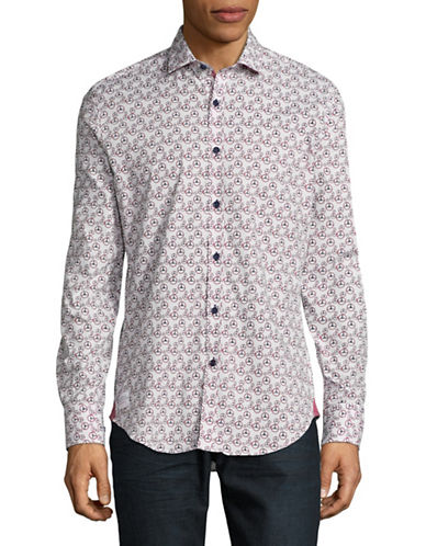 A Fish Named Fred Classic -Fit Printed Sport Shirt-WHITE-Large