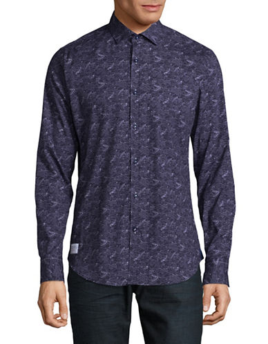A Fish Named Fred Jopen Printed Sport Shirt-NAVY-X-Large
