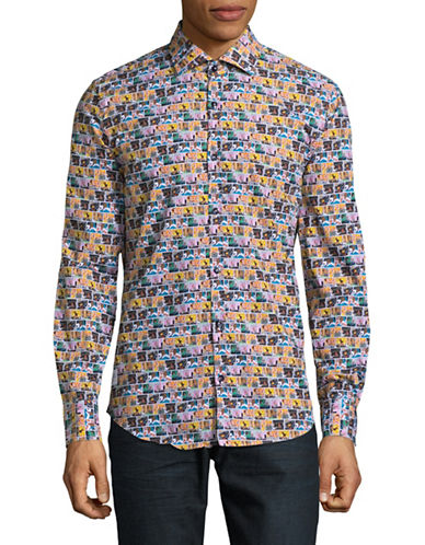 A Fish Named Fred Cartoon Print Button-Down Shirt-MULTI-COLOURED-Large