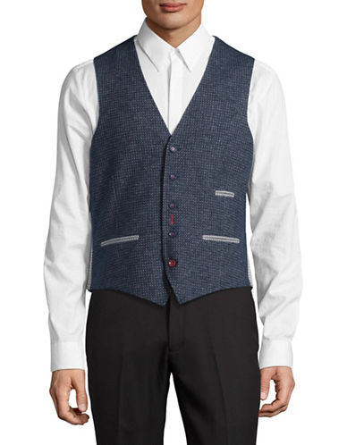 A Fish Named Fred Square Motif Vest-NAVY-56