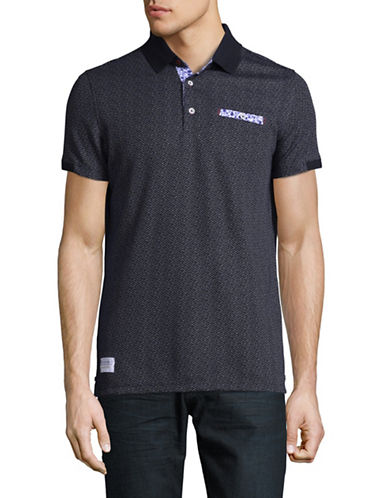 A Fish Named Fred Mini-Dot Patterned Polo-NAVY-Medium