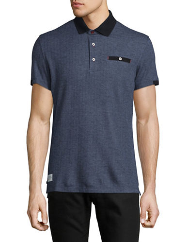 A Fish Named Fred Fishbone Patterned Polo-NAVY-X-Large