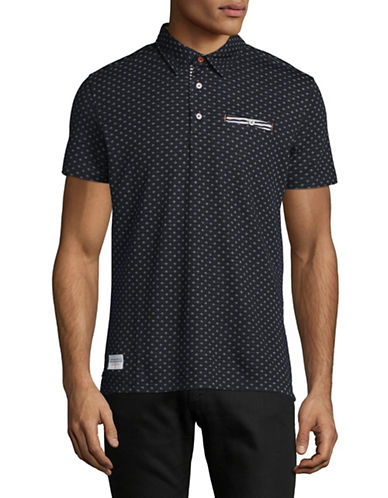 A Fish Named Fred Diamond Patterned Polo-NAVY-Medium