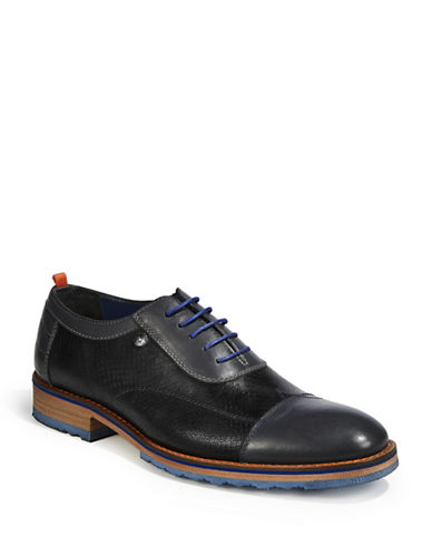 A Fish Named Fred Cap Toe Leather Oxfords-BLACK-EU 41/US 8