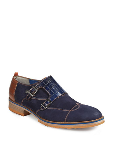 A Fish Named Fred Multi-Media Monk Strap Dress Shoes-NAVY-EU 46/US 13