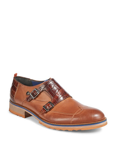 A Fish Named Fred Multi-Media Monk Strap Dress Shoes-COGNAC-EU 41/US 8