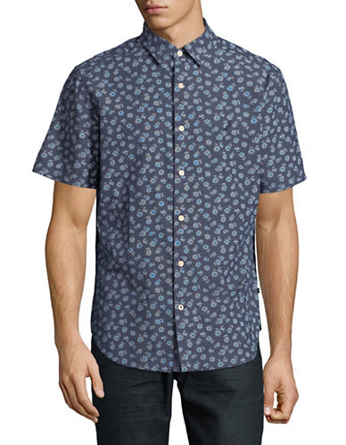 Nautica Printed Short-Sleeve Cotton Sportshirt-BLUE-Large