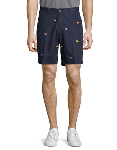 Nautica Flag Print Cotton Shorts-NAVY BLUE-32