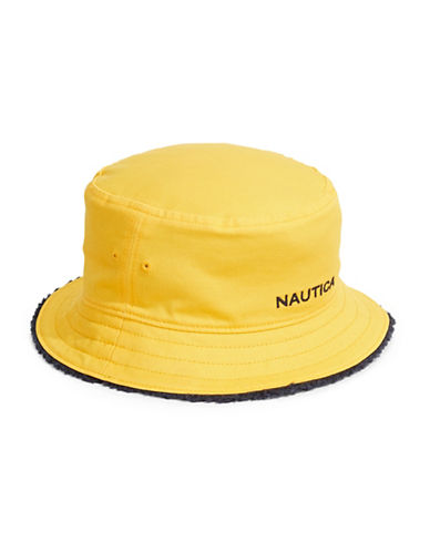 Nautica Reversible Cotton Bucket Hat-YELLOW-Small/Medium