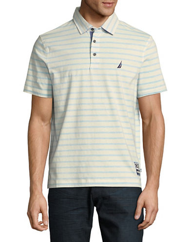 Nautica Striped Cotton Polo-WHITE-Medium