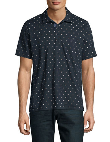 Nautica Printed Cotton Jersey Polo-NAVY-Large
