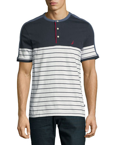 Nautica Stripe Cotton Jersey Henley-WHITE-Medium