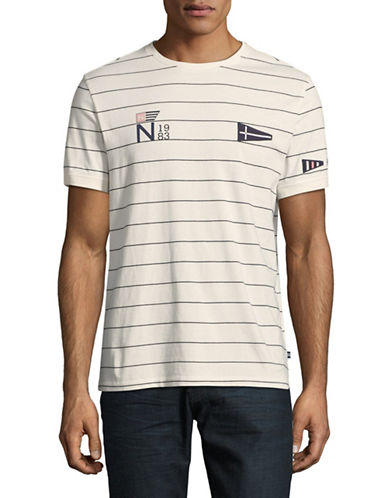 Nautica Striped Short-Sleeve Cotton Tee-WHITE-Medium