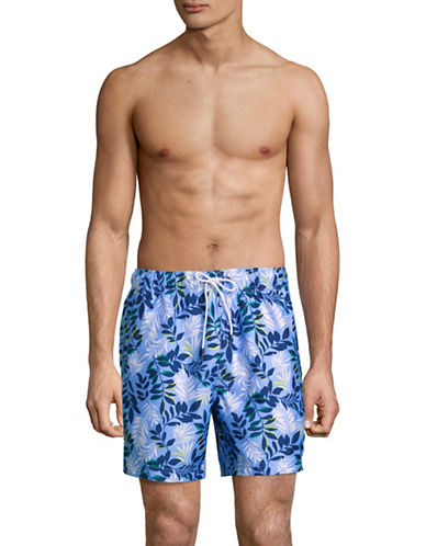 Nautica Floral-Print Swim Shorts-BLUE-Medium