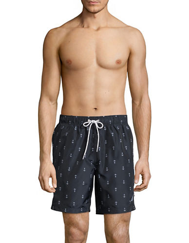 Nautica Anchor-Print Swim Trunks-NAVY-Medium