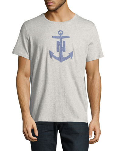 Nautica Chambray Anchor Short-Sleeve Cotton Tee-GREY-Large