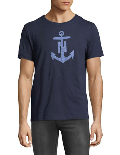 Nautica Chambray Anchor Short-Sleeve Cotton Tee-NAVY-X-Large