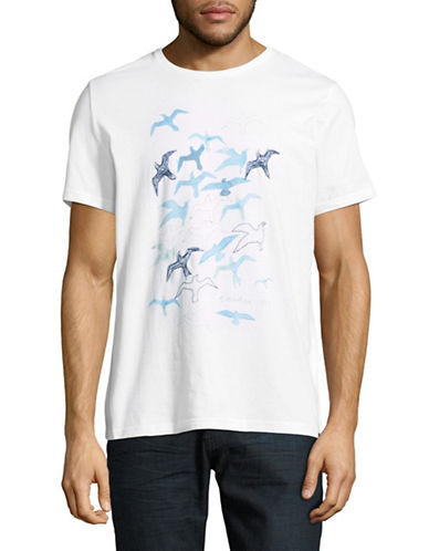 Nautica Watercolour Gulls Short-Sleeve Cotton Tee-WHITE-Large