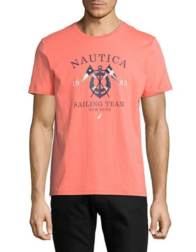 Nautica 1983 Sailing Team Short-Sleeve Cotton Tee-CORAL-Medium