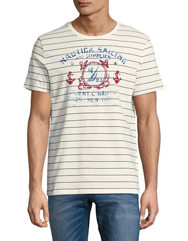 Nautica Striped Short-Sleeve Cotton Tee-WHITE-Large