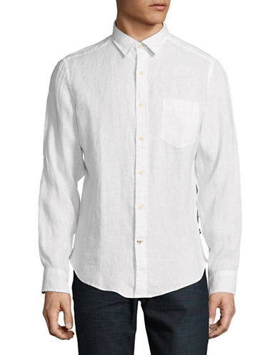 Nautica Classic Long-Sleeve Linen Sportshirt-WHITE-Small