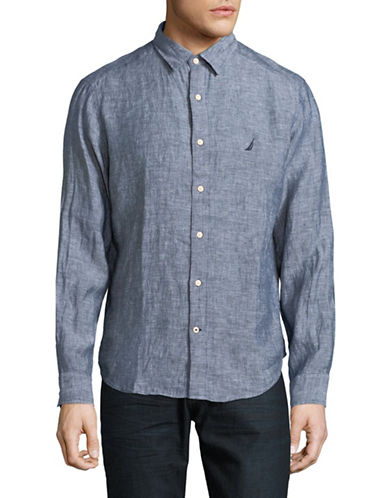 Nautica Classic-Fit Long-Sleeve Linen Sportshirt-BLUE-Small