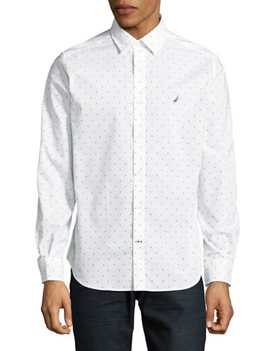 Nautica Dotted Long-Sleeve Sportshirt-WHITE-X-Large
