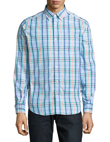 Nautica Check Cotton Sport Shirt-BLUE-X-Large