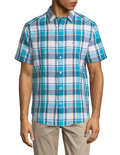Nautica Plaid Short-Sleeve Sportshirt-BLUE-Small