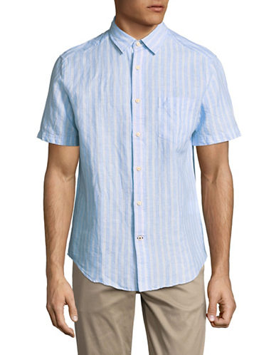 Nautica Vertical Stripe Short-Sleeve Sportshirt-BLUE-X-Large