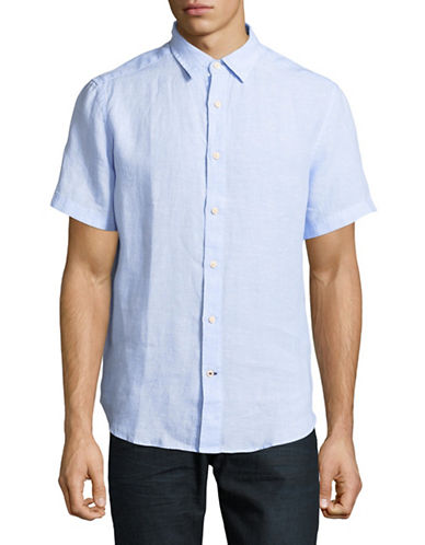 Nautica Classic Short-Sleeve Linen Sportshirt-BLUE-Medium