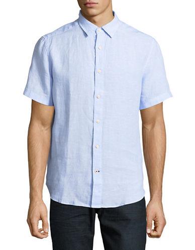 Nautica Classic Short-Sleeve Linen Sportshirt-BLUE-X-Large