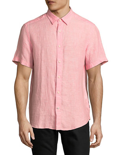 Nautica Classic Short-Sleeve Sportshirt-CORAL-Large