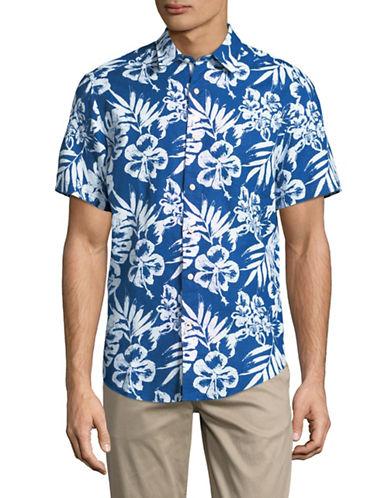 Nautica Floral-Print Short-Sleeve Sportshirt-BLUE-Large