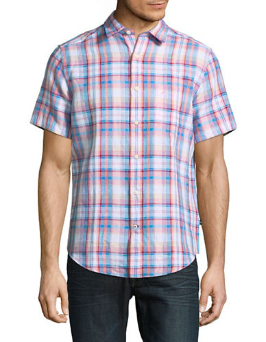 Nautica Plaid Short-Sleeve Sportshirt-CORAL-Medium