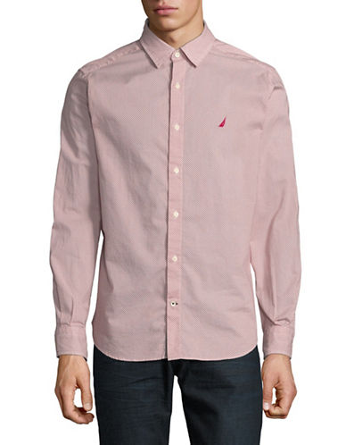 Nautica Pop Medallion Cotton Sport Shirt-RED-Medium