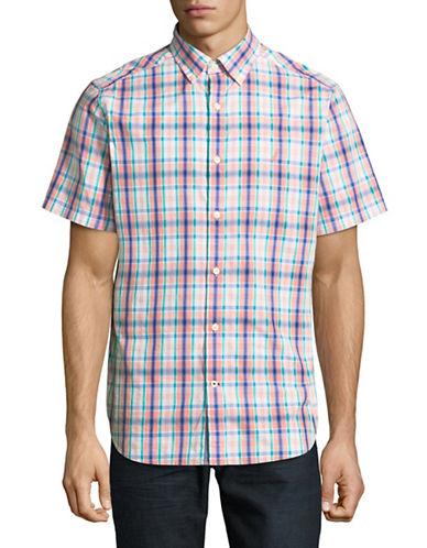 Nautica Tartan Short-Sleeve Cotton Sportshirt-CORAL-Medium