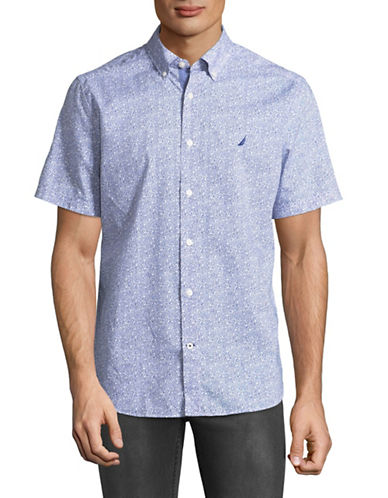 Nautica Printed Short-Sleeve Cotton Sportshirt-BLUE-Medium