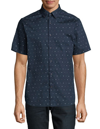 Nautica Anchor Cotton Sport Shirt-NAVY-Small